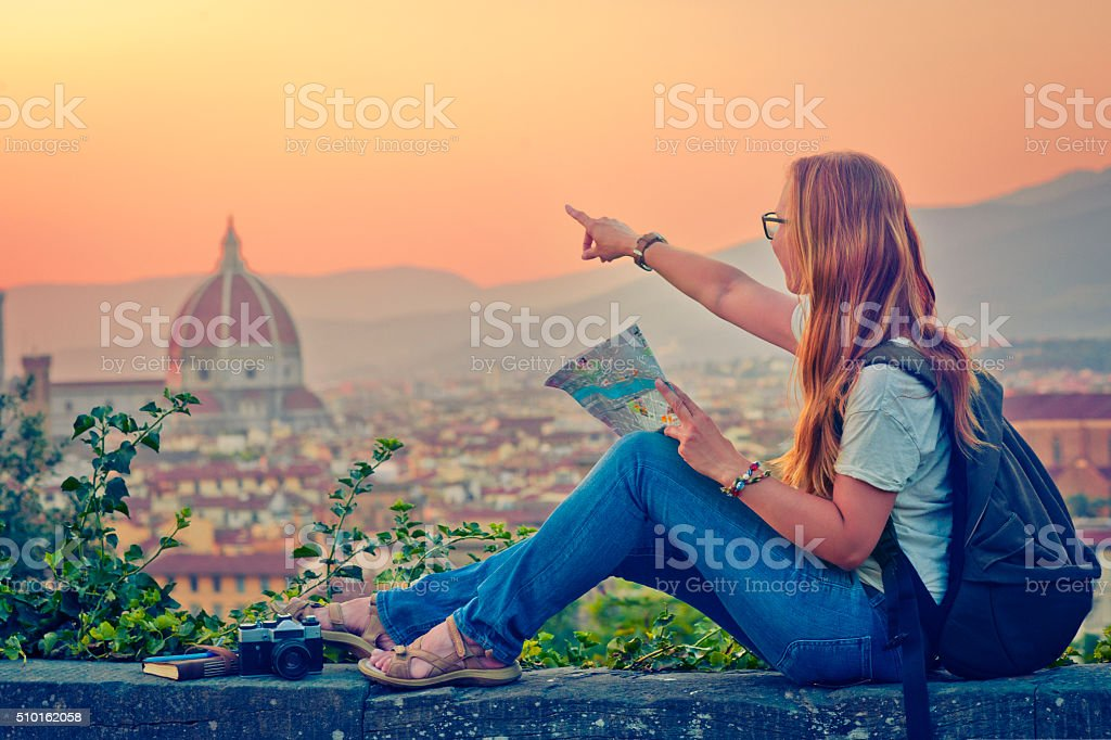 Traveller in Florence stock photo
