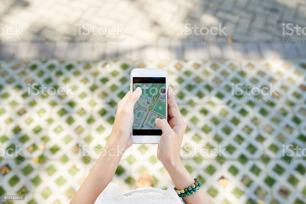 Traveller searching the way stock photo