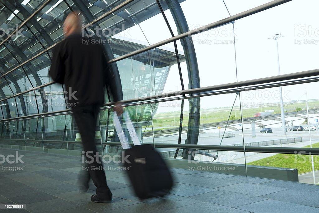 Traveller Walking Down Corridor, Motion Blur royalty-free stock photo