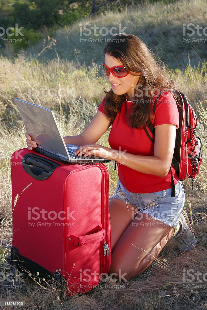 Traveller with laptop royalty-free stock photo