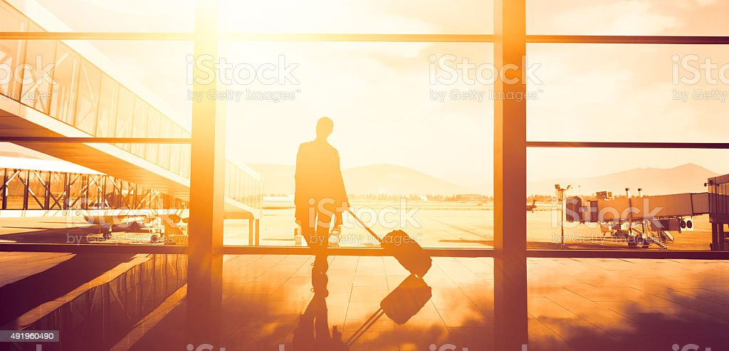 traveller woman waiting stock photo