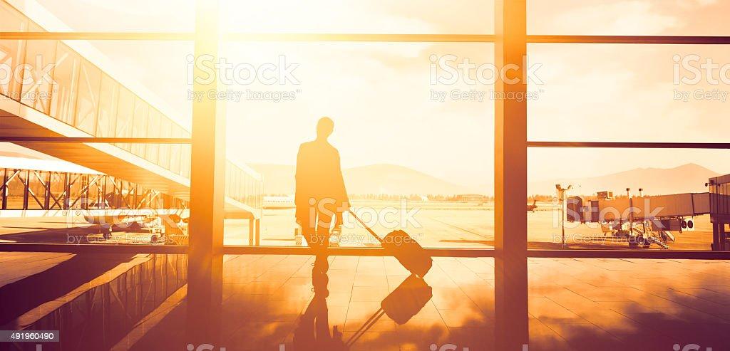 traveller woman waiting stock photo