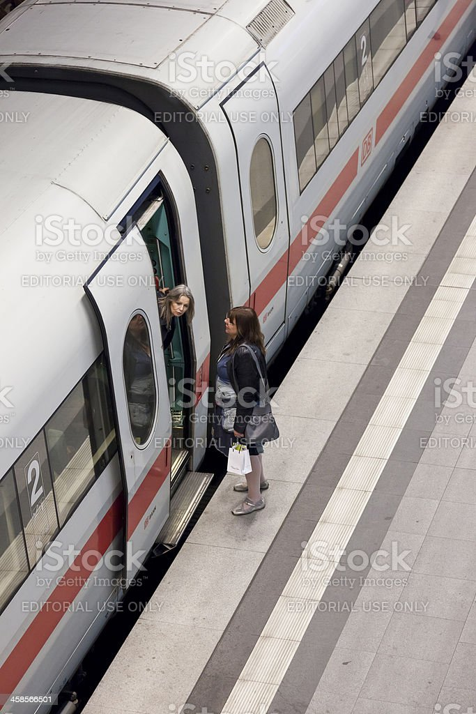 Travellers at Berlin Central Station stock photo