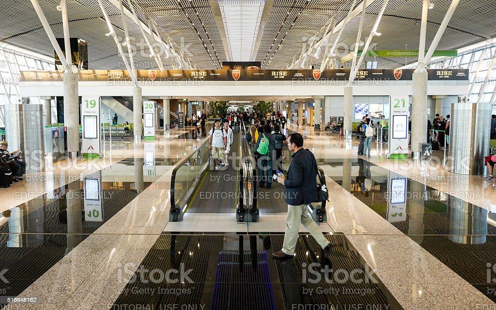 Travellers at Brasilia International Airport, Brazil stock photo