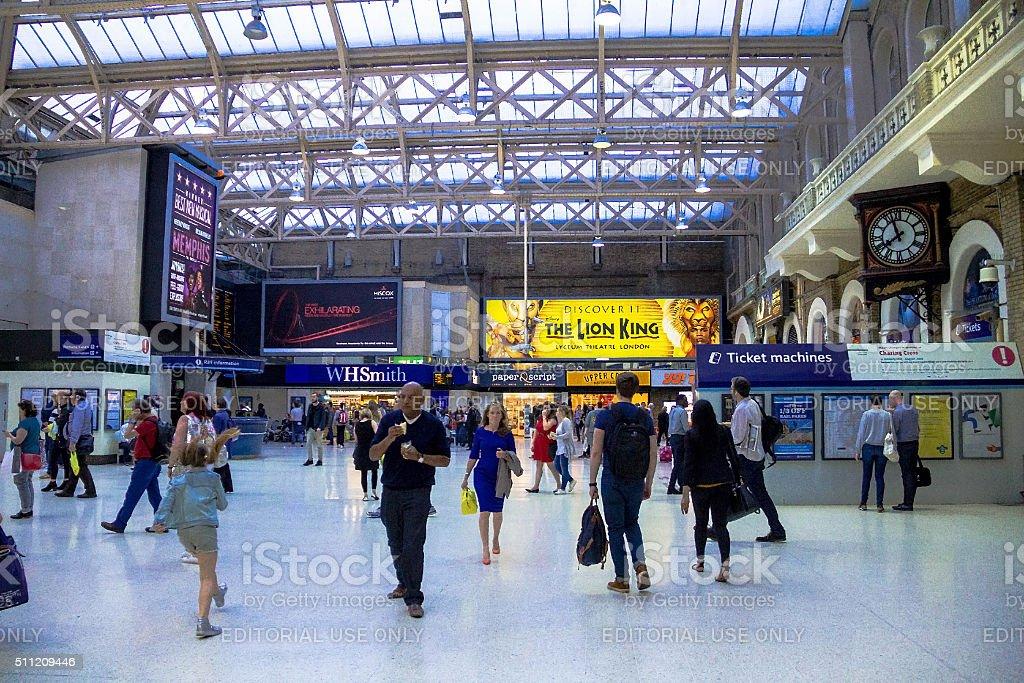Travellers at Charing Cross railway station. London, UK stock photo