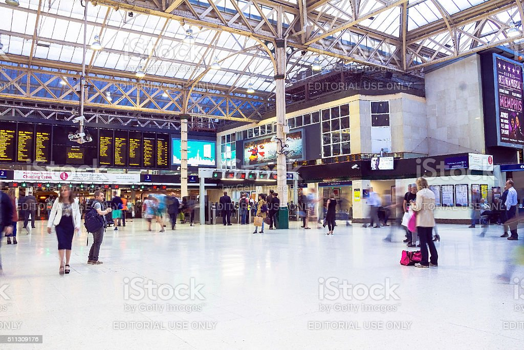 Travellers at Charing Cross railway station stock photo