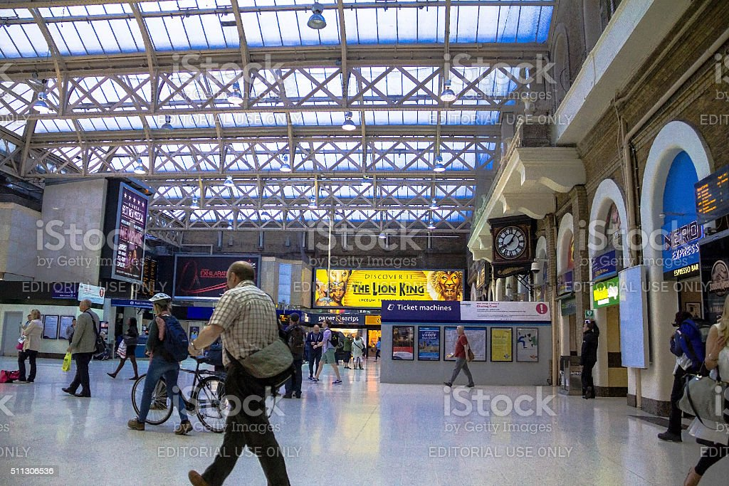 Travellers at Charing Cross railway station.London, UK stock photo