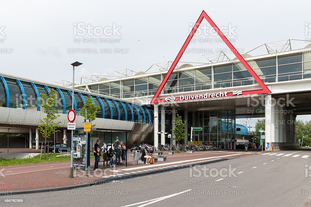Travellers near a Dutch railway station stock photo
