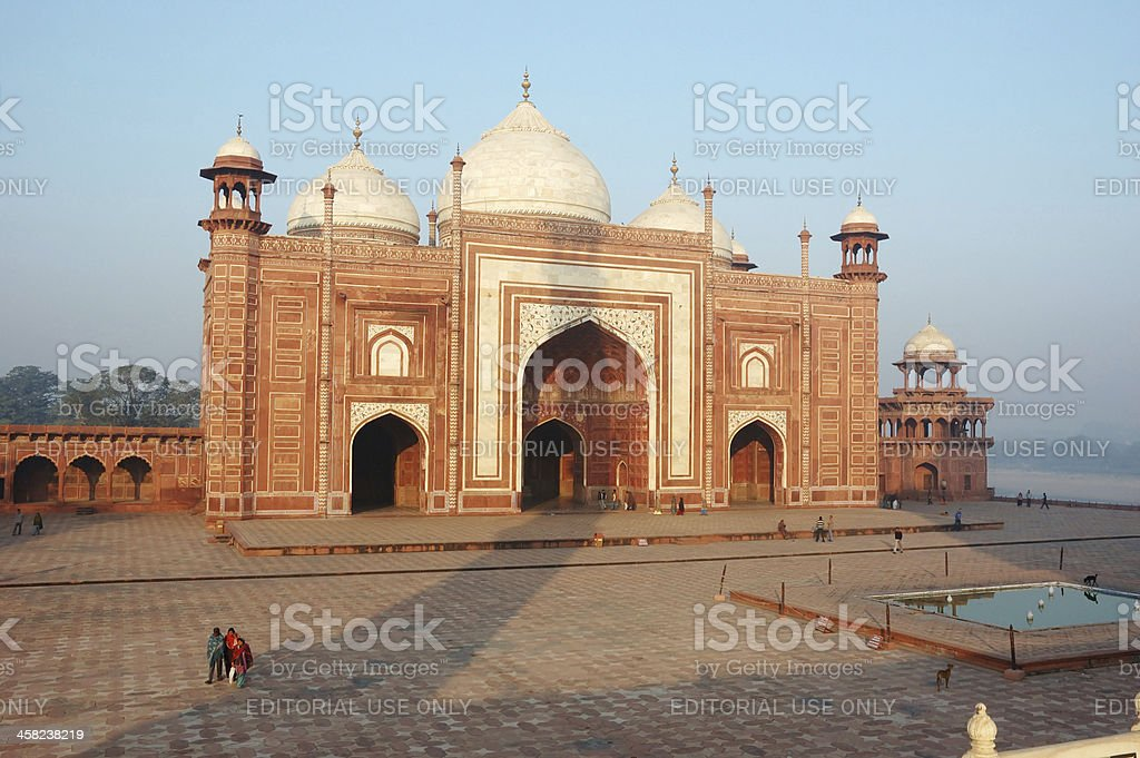Travellers visiting the Taj Mahal mosque, famoous unesco heritage site royalty-free stock photo