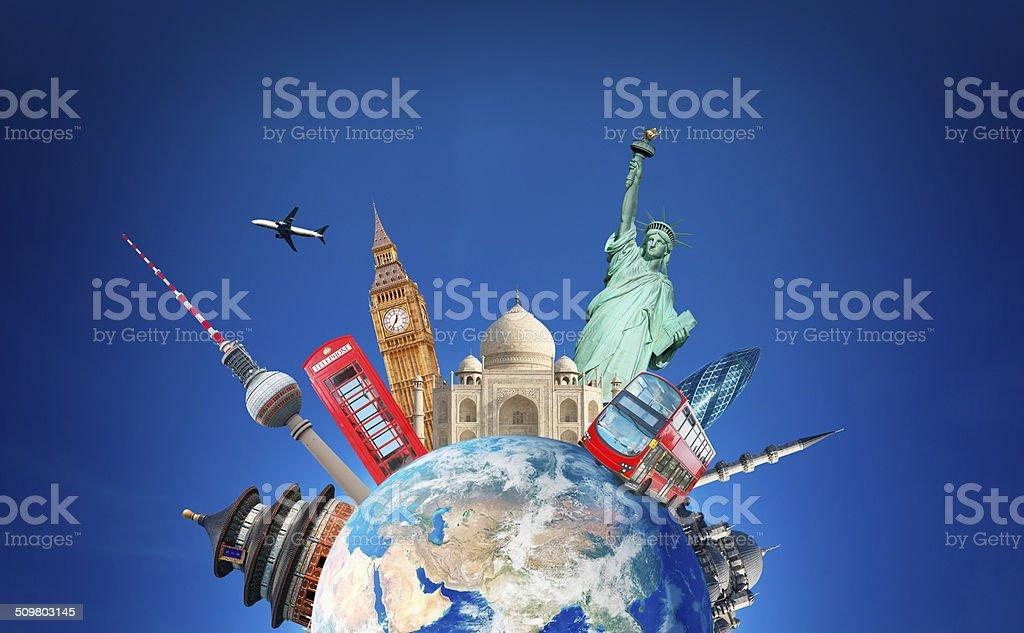 Travelling around the globe stock photo