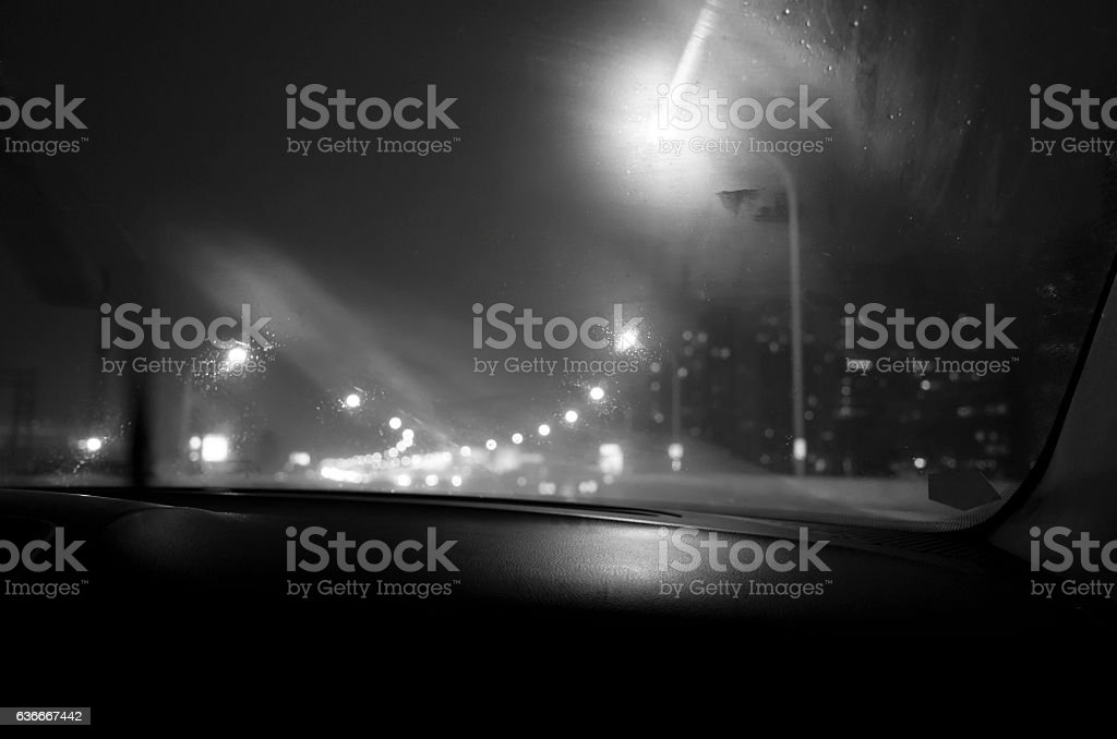 travelling by car overnight stock photo