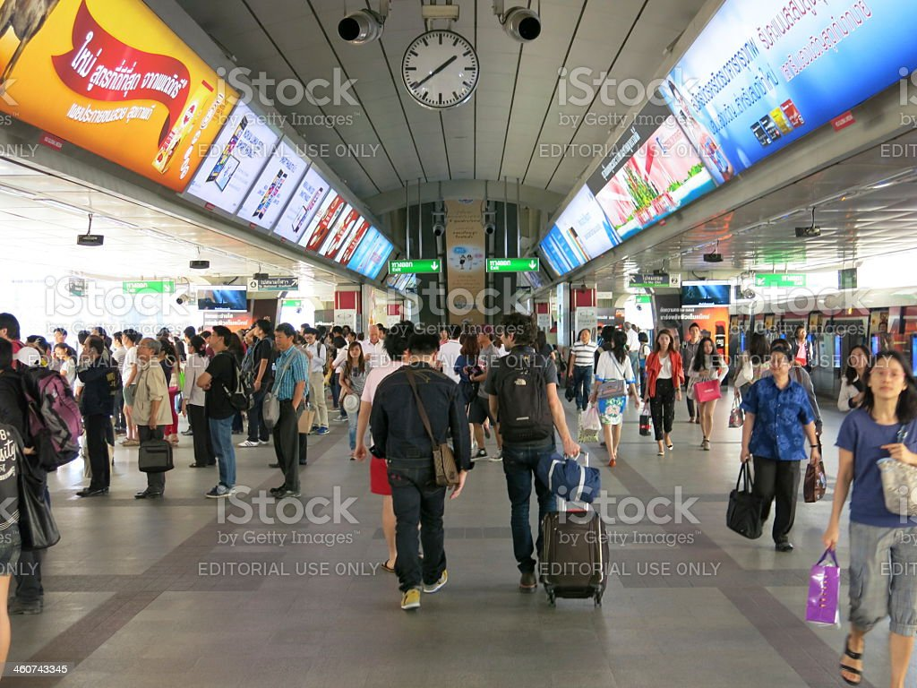 Travelling by skytrain stock photo