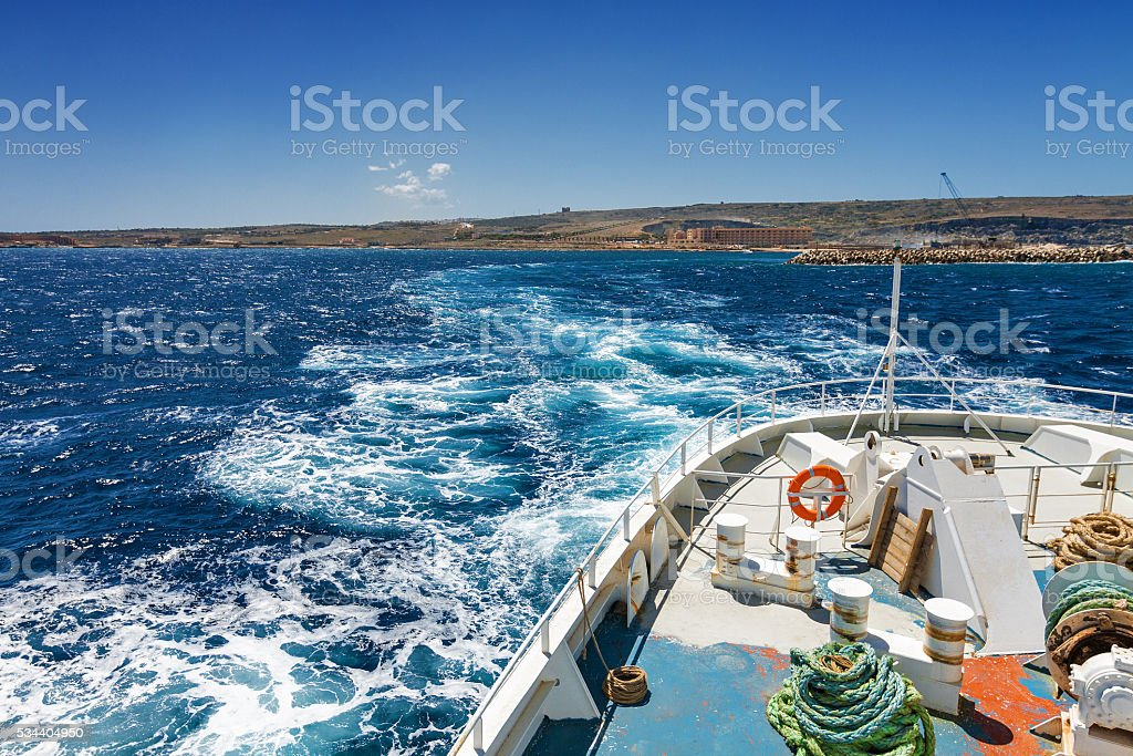 Travelling from Malta to Gozo by ferry. stock photo