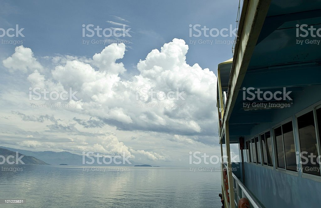 Travelling on a boat at Lake Kivu in Congo royalty-free stock photo