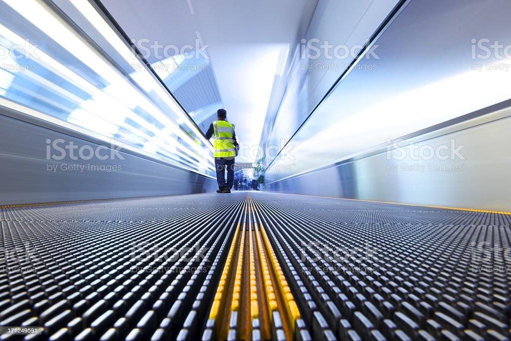 Travelling on Escalator stock photo