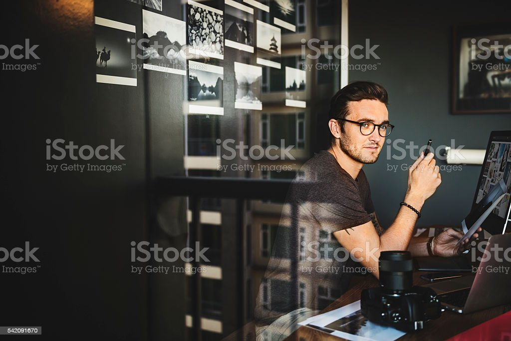 Travelling Photographer Journalist Workplace Concept stock photo