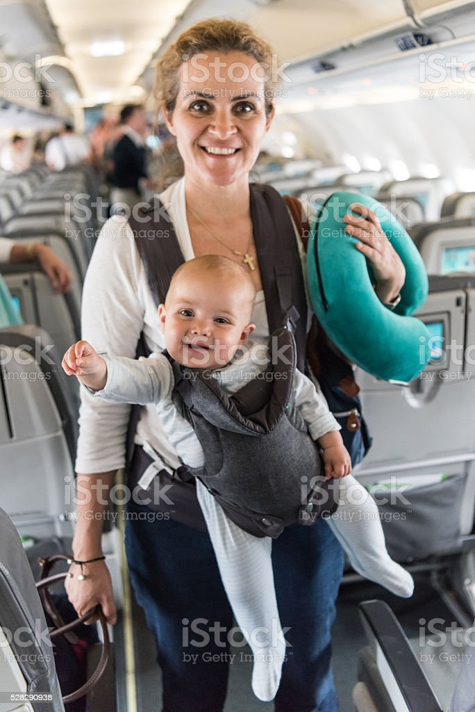Travelling with a baby stock photo