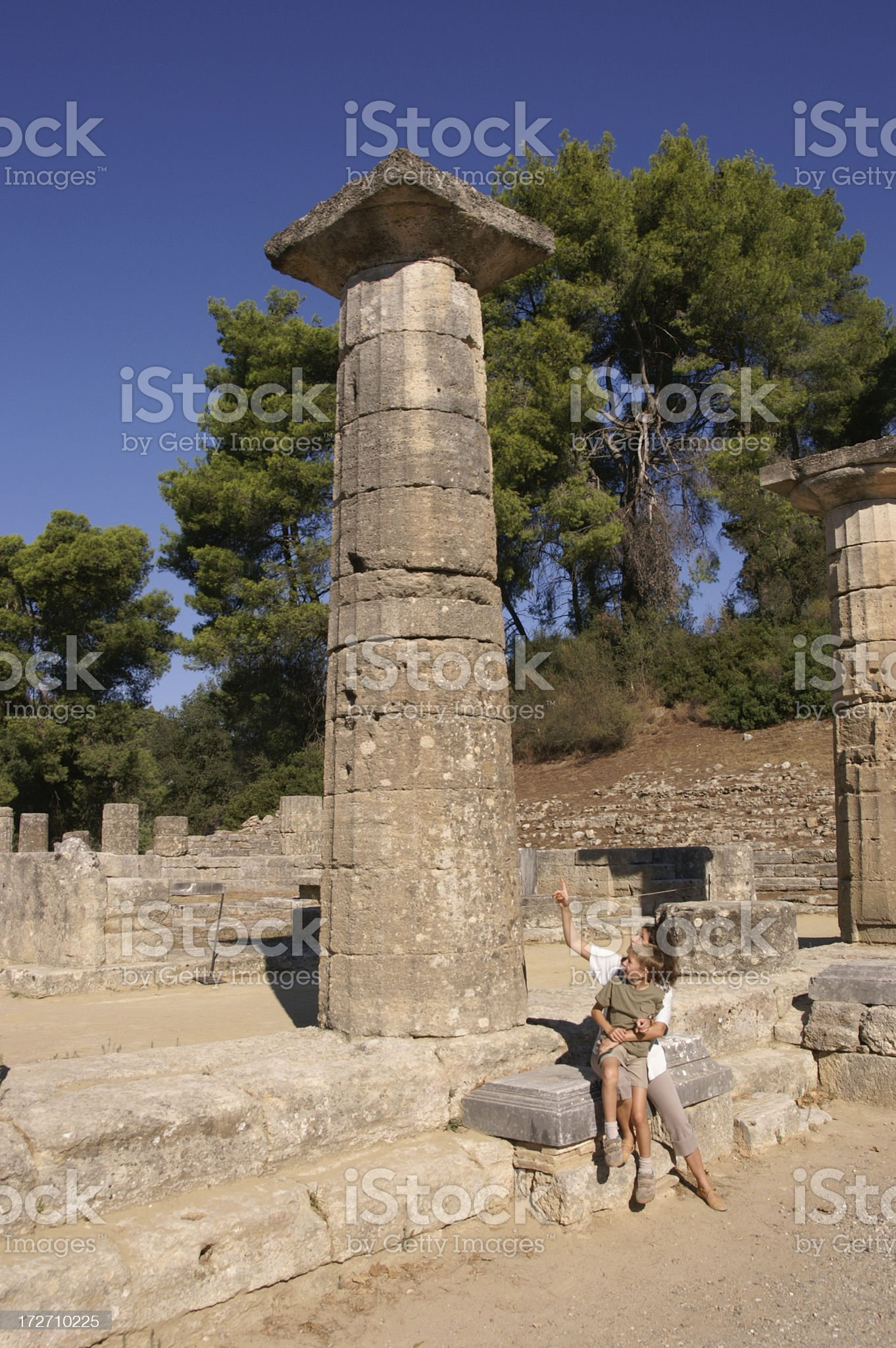 Travelling with child over Greece royalty-free stock photo