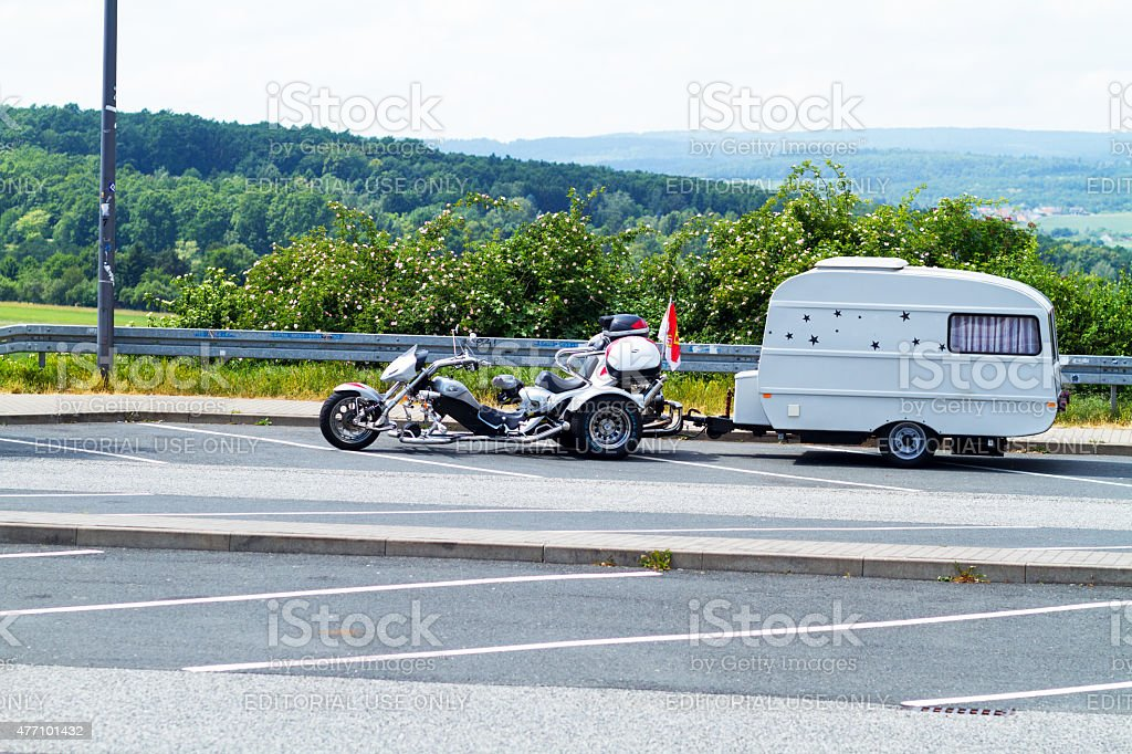 Travelling with trike and mini caravan stock photo