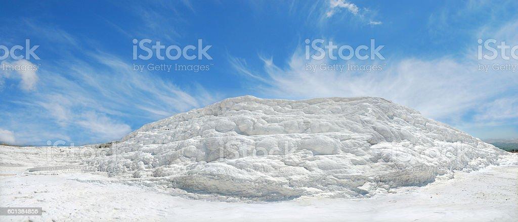 Travertine and terraces panorama stock photo