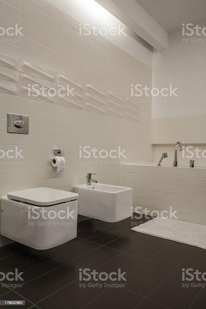 Travertine house - bathroom royalty-free stock photo