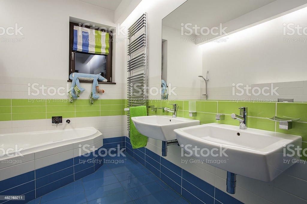 Travertine house - colorful bathroom royalty-free stock photo