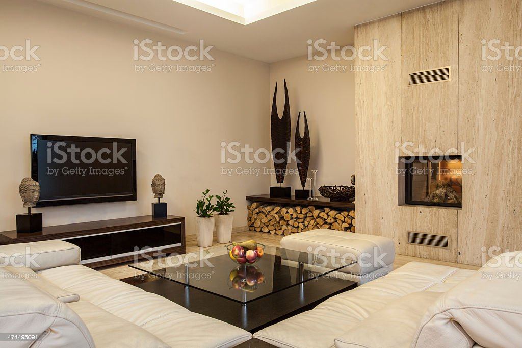 Travertine house: Interior creative solutions stock photo