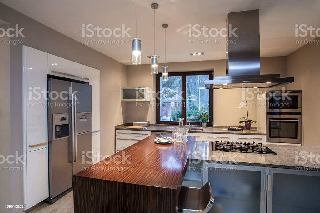 Travertine house - spacious kitchen royalty-free stock photo