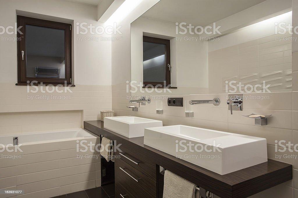 Travertine house - Stylish bathroom royalty-free stock photo