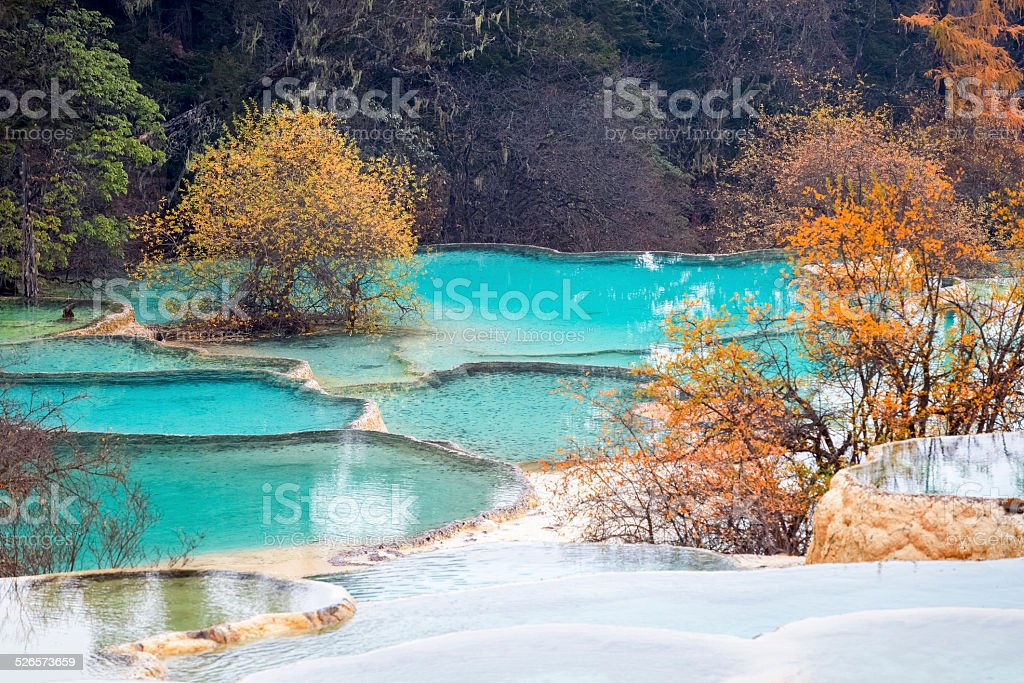 travertine landscape in autumn huanglong stock photo