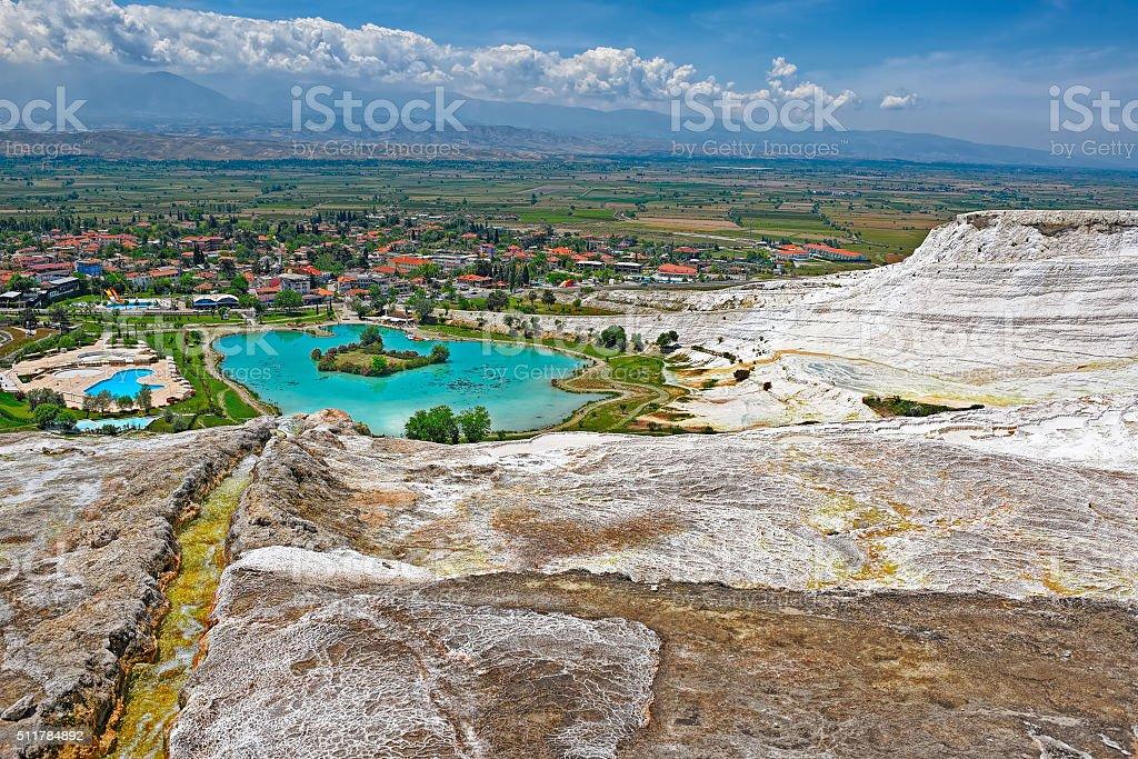 Travertine pools and terraces at Pamukkale, Turkey. stock photo