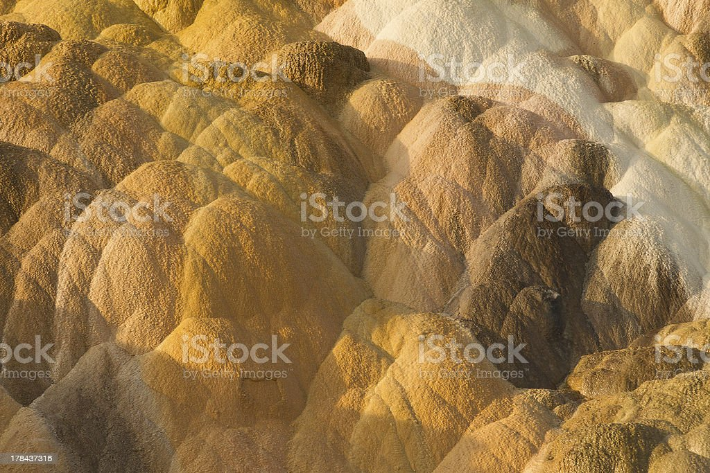 Travertine terraces at Mammoth Hot Springs royalty-free stock photo