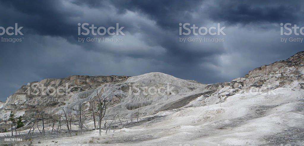 Travertine, Yellowstone, just before storm stock photo