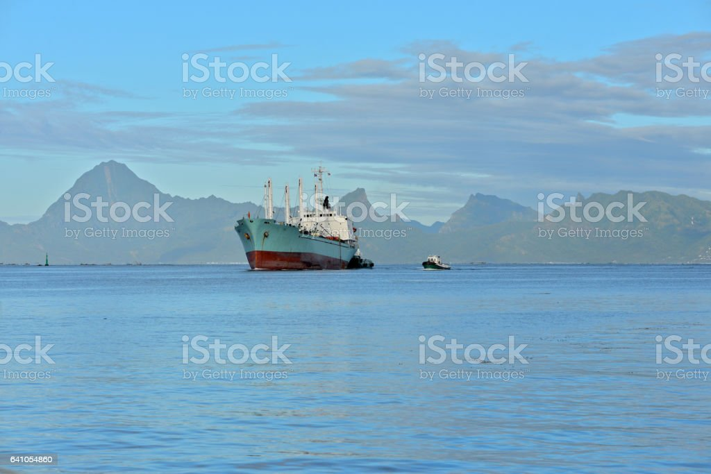 Trawler enter the port, Papeete stock photo