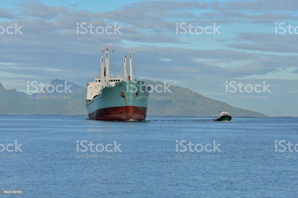 Trawler enter the port, Papeete stock photo