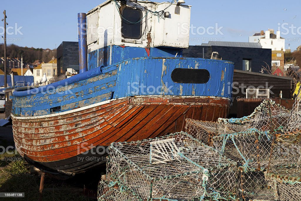 Trawler fishing boat industry Hastings England royalty-free stock photo