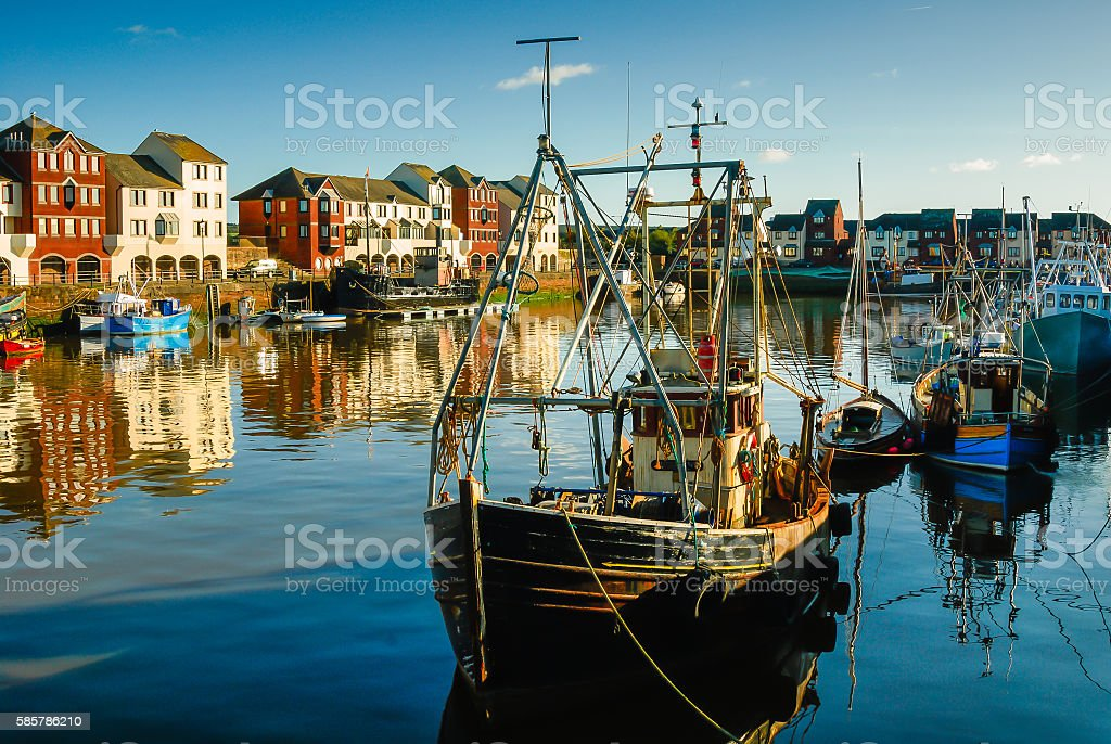 Trawlers in Harbour stock photo