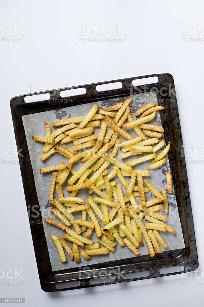 Tray Full Of Crinkle Cut Oven Chips stock photo
