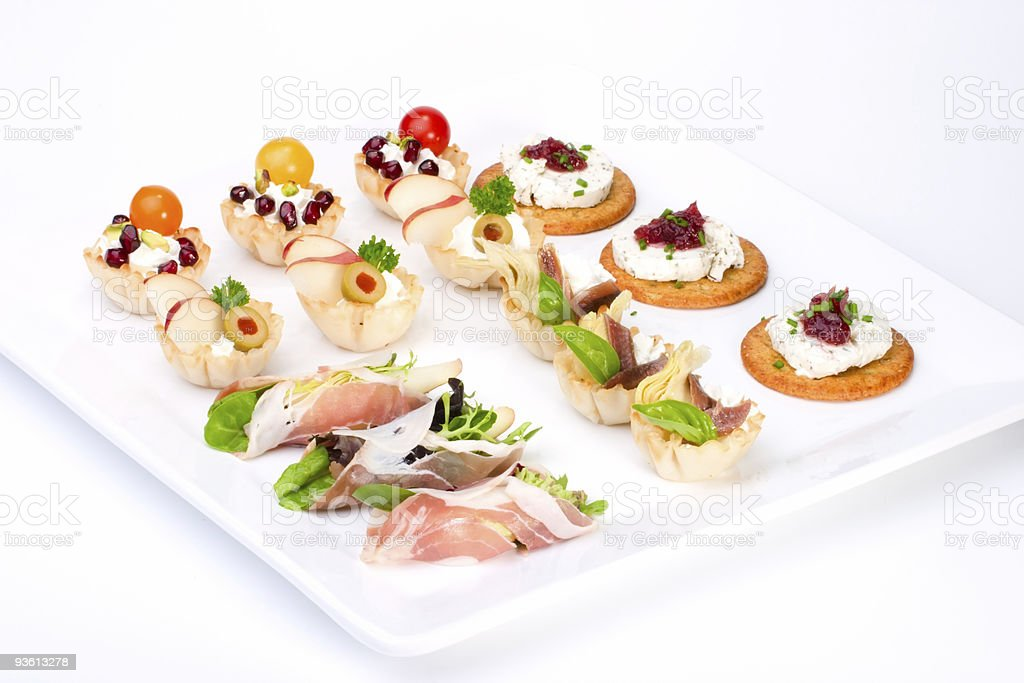 Tray full of fresh canapes royalty-free stock photo