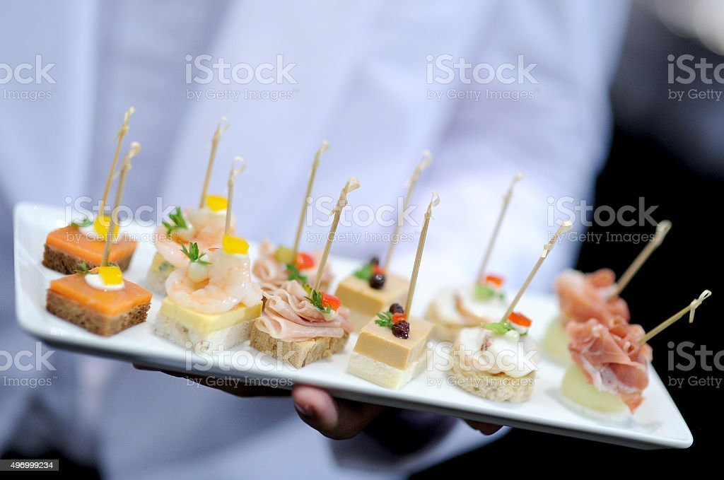 tray of appetizers stock photo