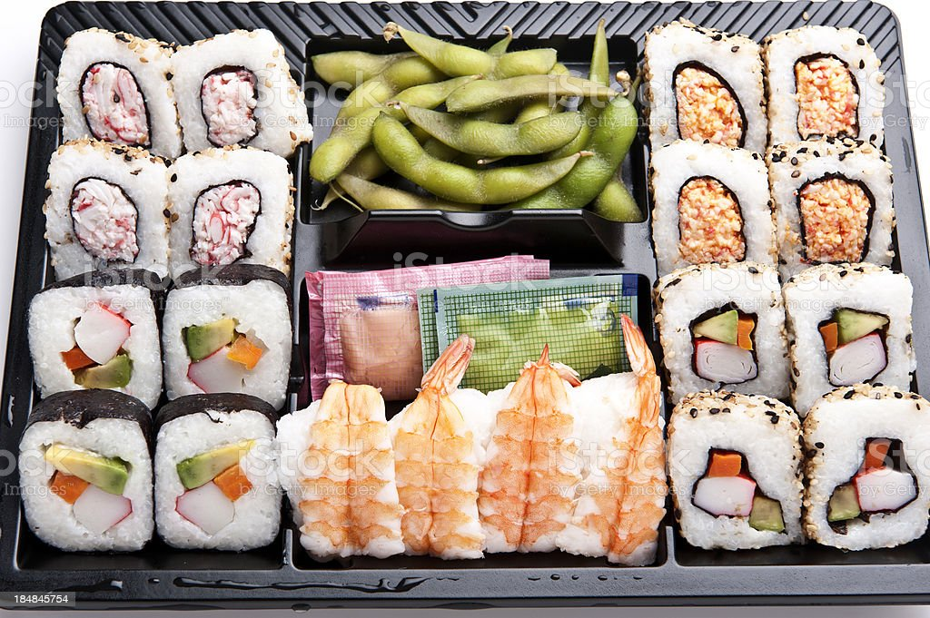 Tray of assorted sushi and edamame royalty-free stock photo