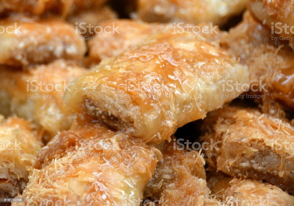 Tray of Baklava Honey Pastries stock photo