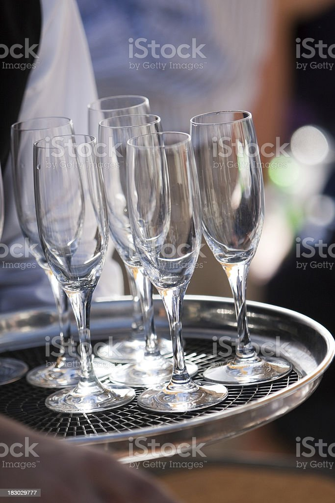 Tray of Champagne Glasses at a Party royalty-free stock photo