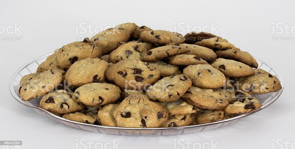Tray of Chocolate Chip Cookies royalty-free stock photo