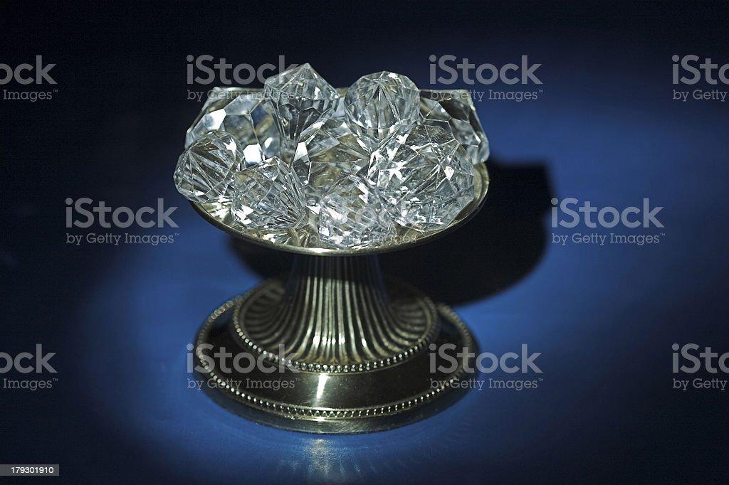 Tray Of Diamonds On Blue royalty-free stock photo