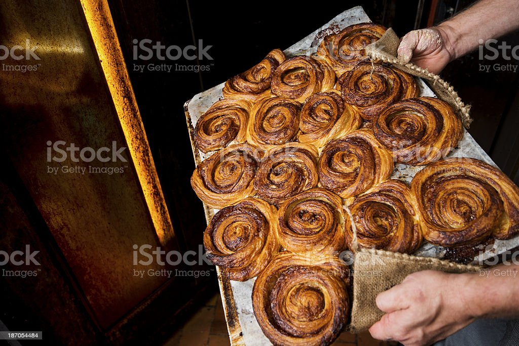 Tray of Fresh Baked Danish Pastries. stock photo