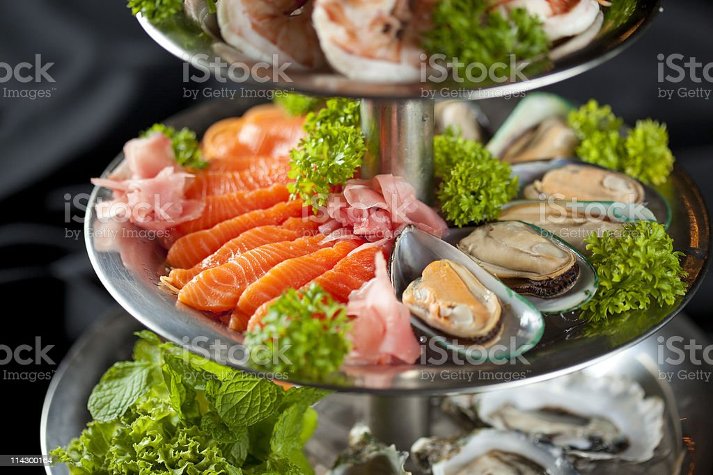 Tray of fresh seafood, Prawns, salmon, mussels and oysters royalty-free stock photo