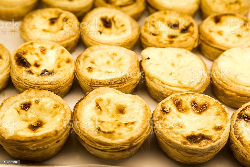 Tray of freshly baked delicious Portuguese egg tarts stock photo