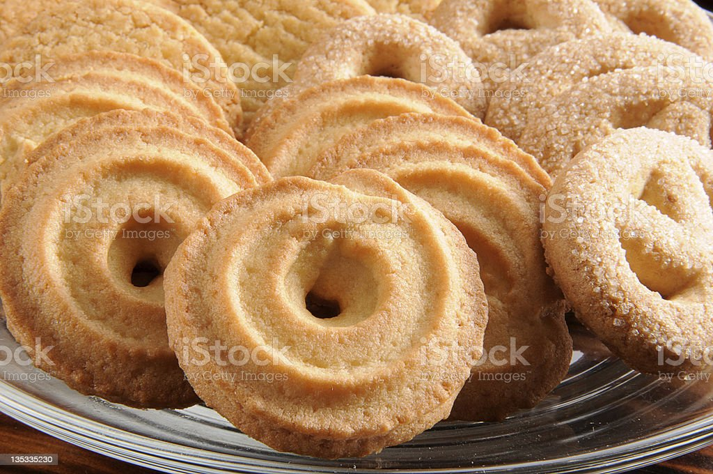 Tray of spiral Danish butter cookies stock photo