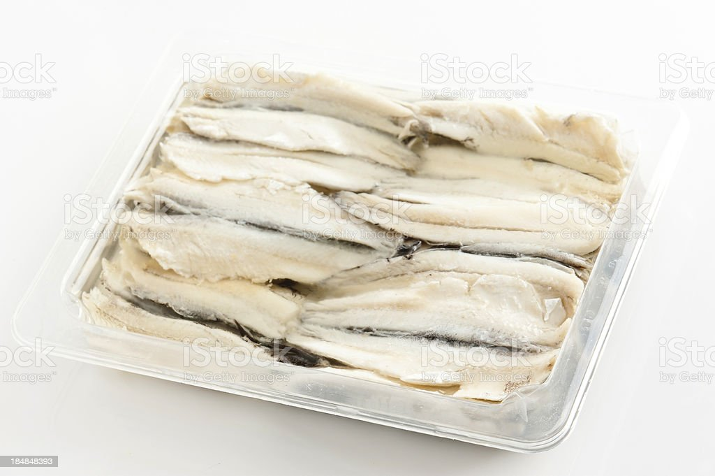 Tray of White Anchovies stock photo
